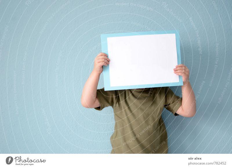 Textfreiraum | Wunschzettel Mensch Kind blau grün weiß Junge maskulin Schilder & Markierungen Kindheit leer Kommunizieren lernen lesen Bildung schreiben