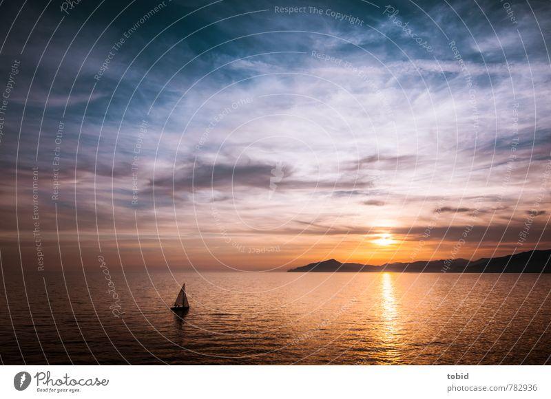 Auf weiter See Freizeit & Hobby Bootsfahrt Ferien & Urlaub & Reisen Ferne Freiheit Sommer Meer Himmel Wolken Horizont Sonnenaufgang Sonnenuntergang