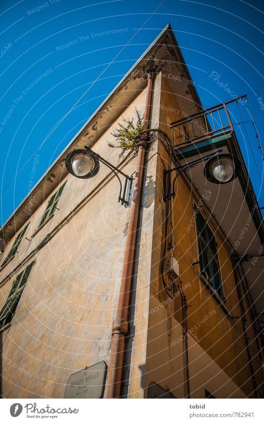 Spitzer Winkel Ferien & Urlaub & Reisen Tourismus Sightseeing Sommer Sommerurlaub Efeu San Rocco Italien Dorf Menschenleer Haus Gebäude Architektur Mauer Wand