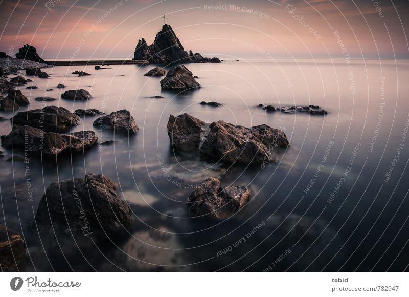 Ein stiller Abend Natur Landschaft Urelemente Erde Wasser Himmel Wolken Horizont Sonnenaufgang Sonnenuntergang Schönes Wetter Küste Bucht Italien Menschenleer