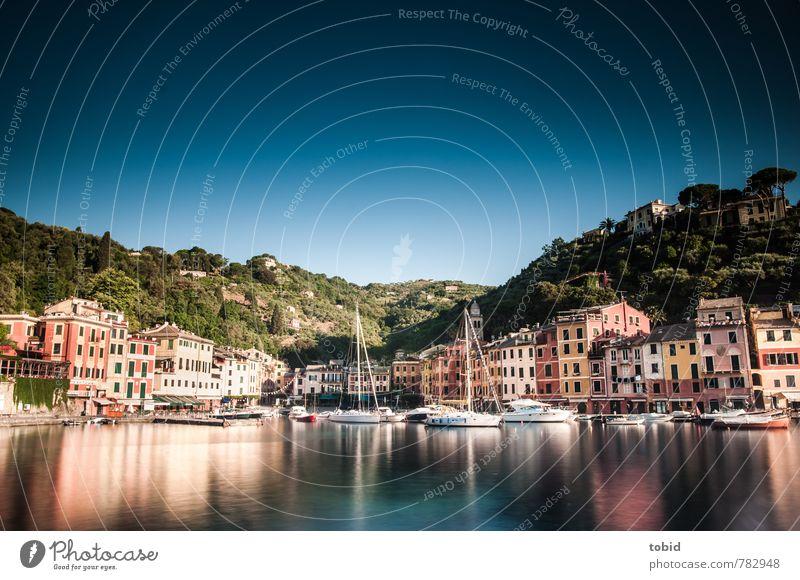 Portofino Ferien & Urlaub & Reisen blau alt Sonne Meer Haus hell glänzend Idylle Tourismus ästhetisch Schönes Wetter Italien Bucht Hafen Dorf