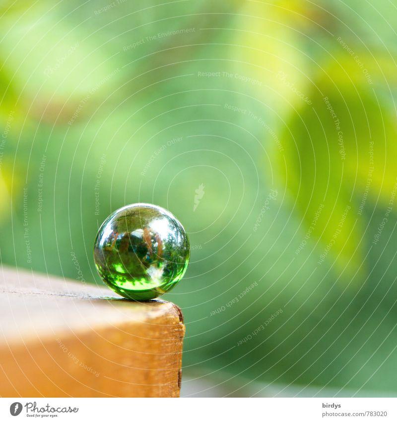 kritischer Moment grün ruhig glänzend Zufriedenheit Glas ästhetisch Freundlichkeit rund Risiko rein Kugel positiv standhaft Kinderspiel Murmel Glaskugel