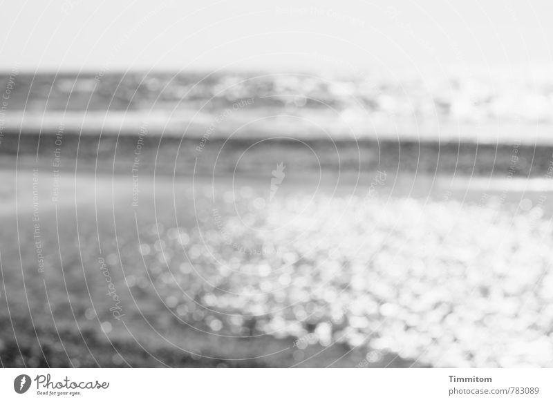 ...Wasser! ...Wasser! Ferien & Urlaub & Reisen Dänemark beobachten ästhetisch einfach grau Gefühle Nordsee Strand Wellen Schwarzweißfoto Menschenleer Tag