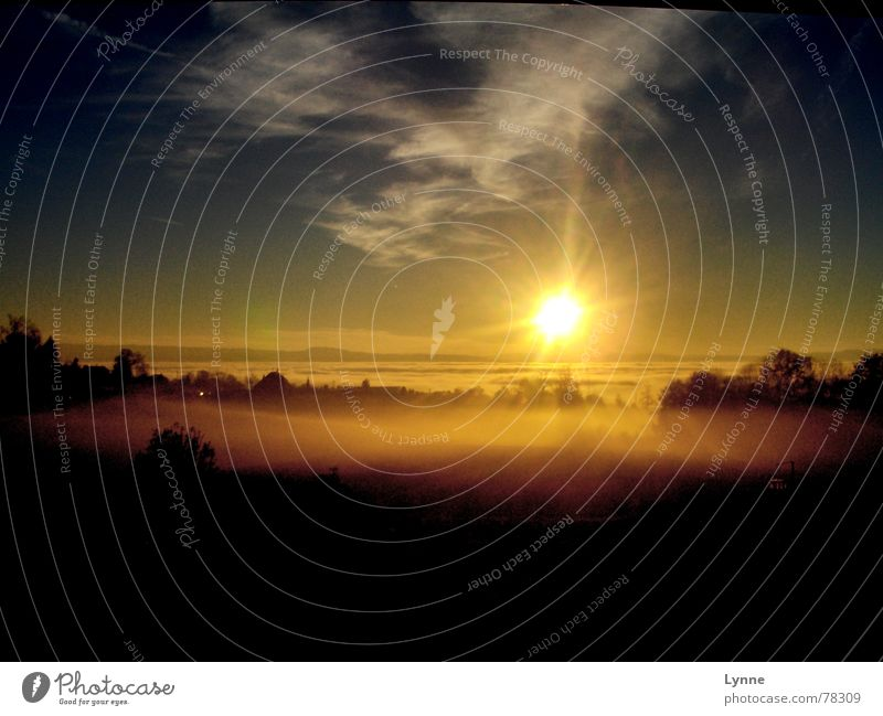 Abendstimmung Sonnenuntergang Wolken Nebel dunkel gelb schwarz Himmel hell Beleuchtung