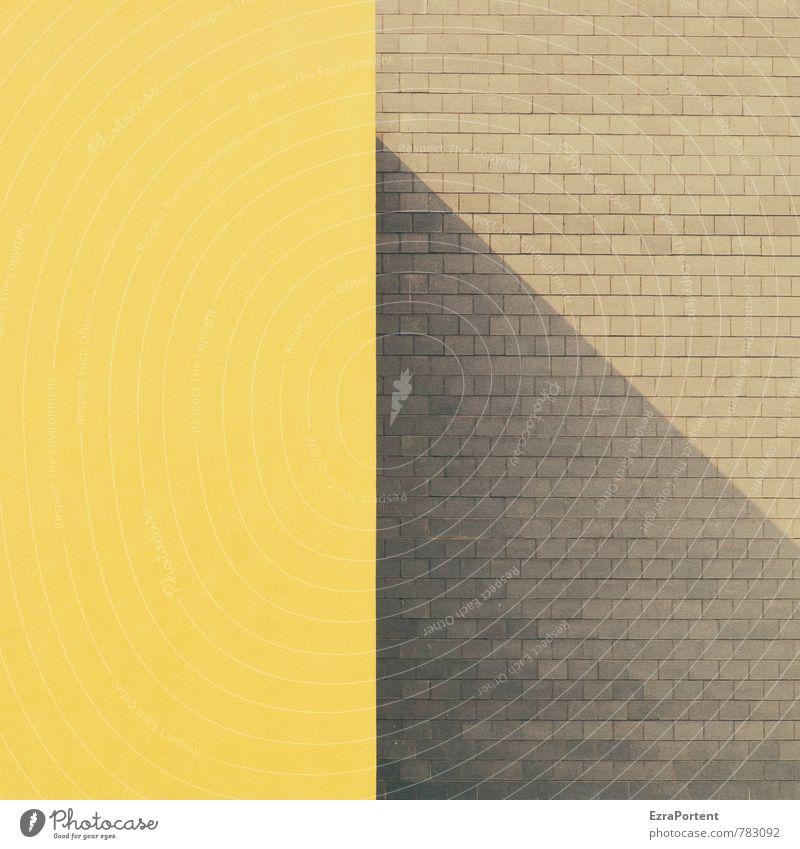 wirft der Schatten das Licht Haus gelb Wand Architektur Mauer Gebäude grau Stein Linie Fassade Design ästhetisch Grafik u. Illustration Klarheit Bauwerk
