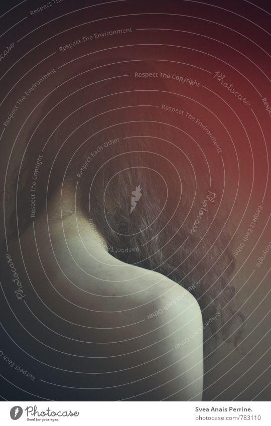 . maskulin Mann Erwachsene Haare & Frisuren Rücken 1 Mensch 18-30 Jahre Jugendliche schwarzhaarig brünett langhaarig Locken träumen Traurigkeit außergewöhnlich