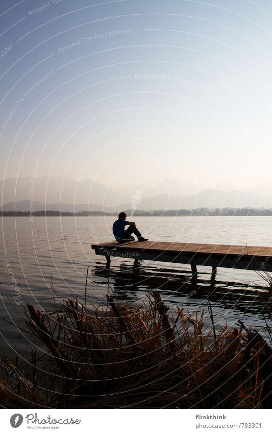 Just relax! Mensch maskulin Junger Mann Jugendliche Erwachsene Körper 1 18-30 Jahre Natur Landschaft Wasser Himmel Wolkenloser Himmel Frühling Sommer Seeufer