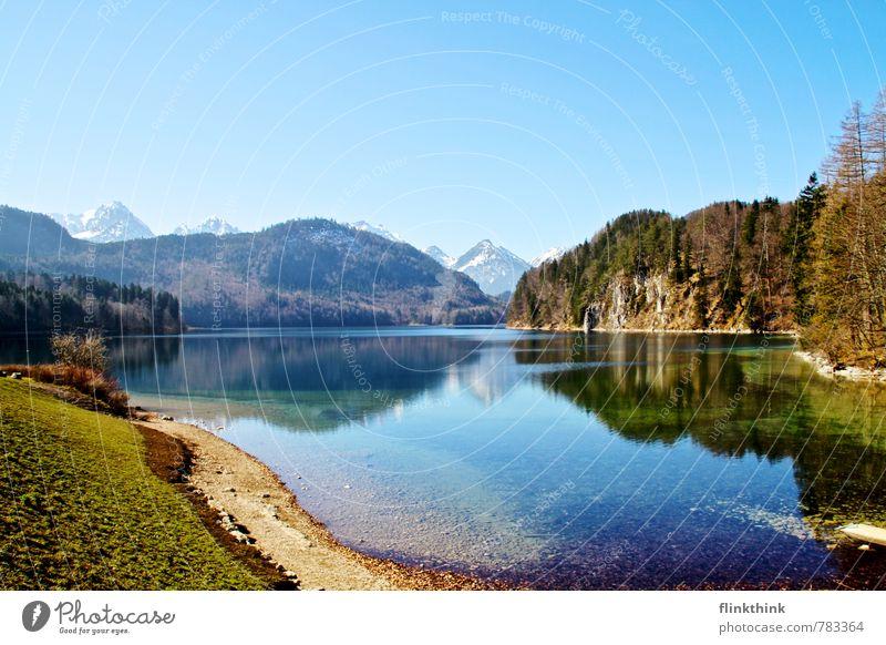 Ab an den See Himmel Natur blau grün Wasser Sommer Baum Erholung Landschaft Wald Berge u. Gebirge Wiese Gras See Zufriedenheit frisch