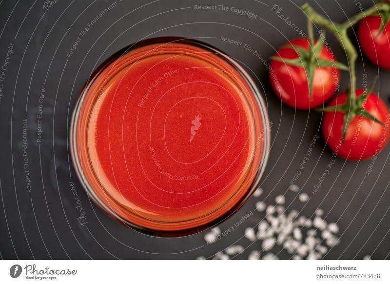 Tomatensaft Gemüse Kräuter & Gewürze Bioprodukte Vegetarische Ernährung Diät Getränk Erfrischungsgetränk Glas Gesundheit hell natürlich saftig rot schwarz Kraft
