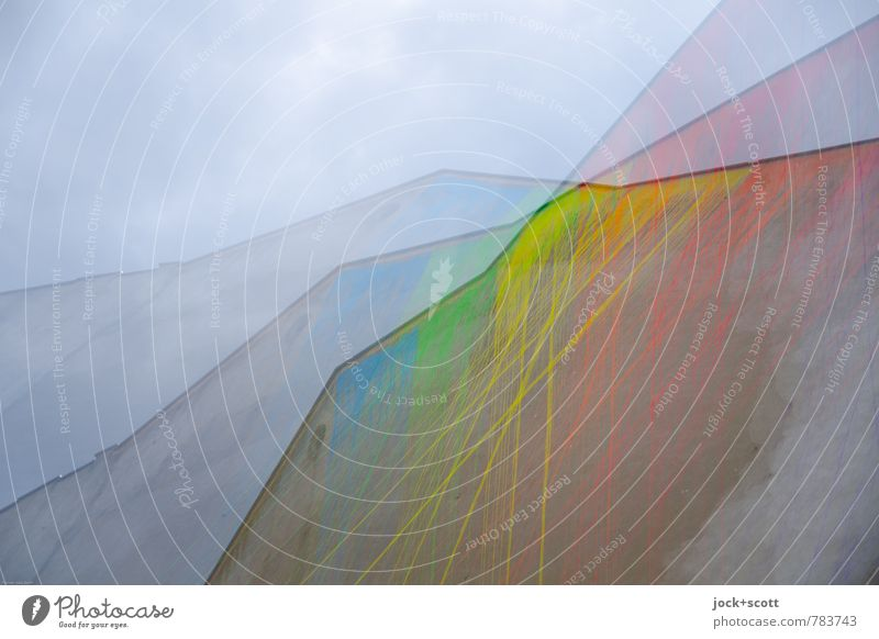 Farbmixer Subkultur Himmel Neukölln Brandmauer drehen lang Surrealismus Irritation Farbverlauf Straßenkunst Doppelbelichtung Drehung Mischung regenbogenfarben