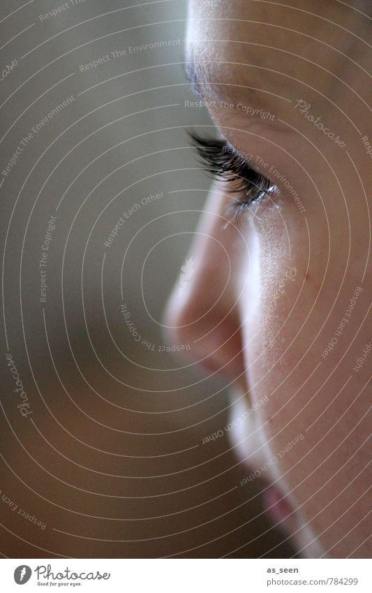 Profil Mensch Kind schön weiß ruhig Mädchen schwarz Gesicht Auge Leben Gefühle feminin braun Kindheit Perspektive ästhetisch