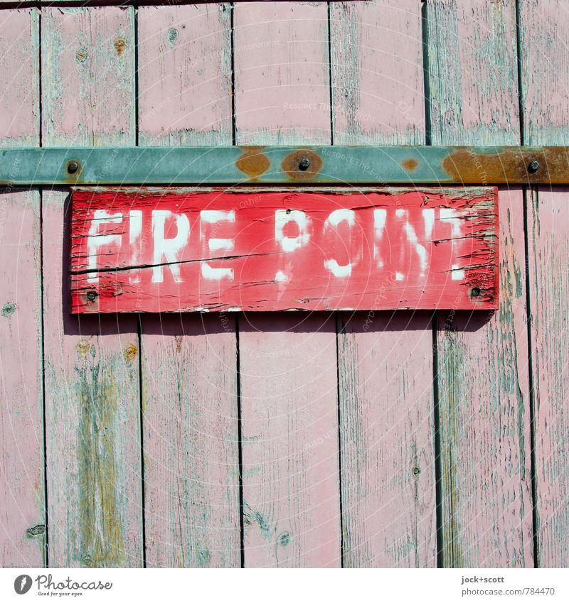 ausradieren Farbe rot Wärme Linie Metall rosa gefährlich Hinweisschild einfach Idee Neugier gut fest Rost Stress Holzbrett