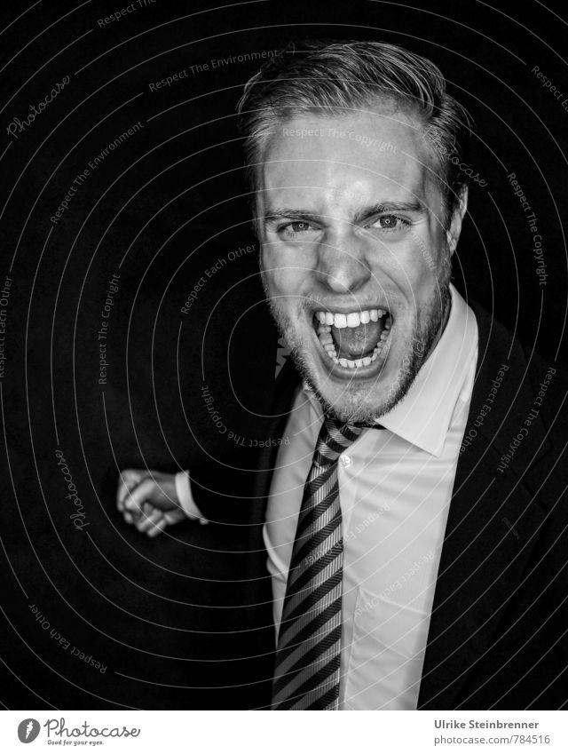 Peace | Aggression Arbeitsplatz Büro Business Karriere sprechen Mensch maskulin Junger Mann Jugendliche Erwachsene Leben 1 18-30 Jahre Hemd Anzug Krawatte