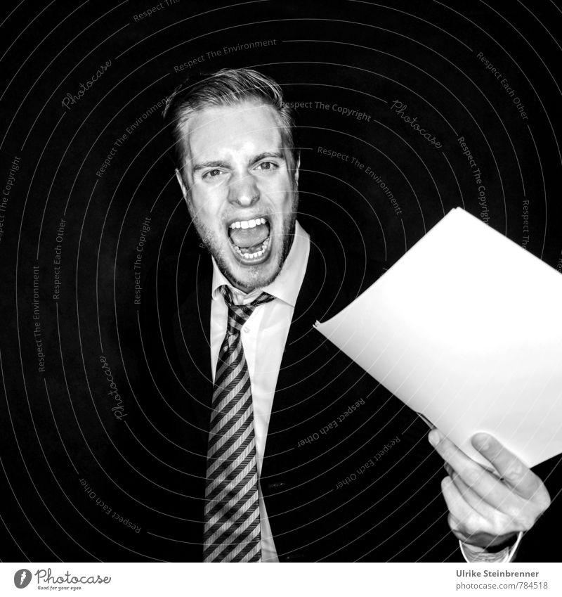 Makulatur 2 Mensch Jugendliche Mann 18-30 Jahre Junger Mann Erwachsene Leben Gefühle sprechen Arbeit & Erwerbstätigkeit maskulin wild Büro bedrohlich Kommunizieren Wut