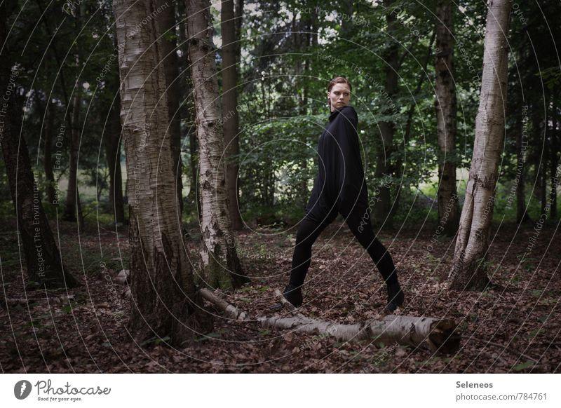 schwarzes Ding im Wald Mensch Frau Sommer Baum Erwachsene feminin natürlich Birke