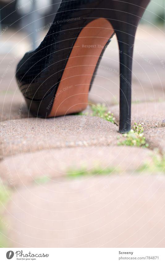 Walk this way... schwarz Wege & Pfade braun Mode elegant Schuhe stehen hoch selbstbewußt Pflastersteine Damenschuhe