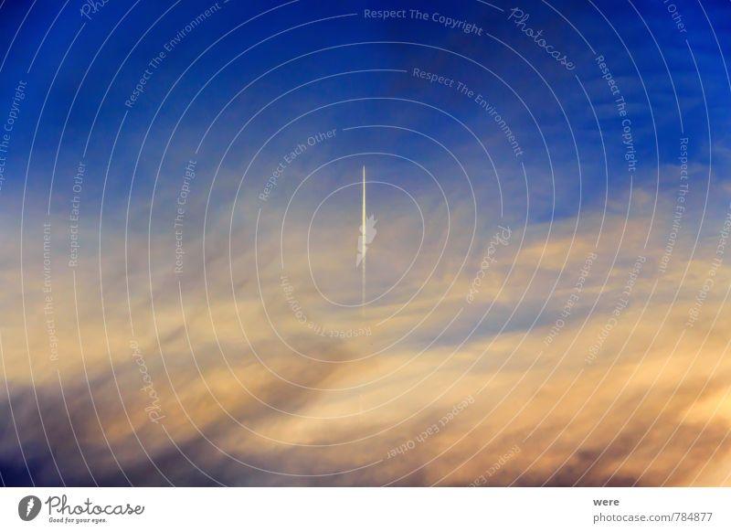 Fernweh Ferien & Urlaub & Reisen Umwelt fliegen Luftverkehr Schönes Wetter Technik & Technologie Flugzeug Flugangst Wolle Kondensstreifen