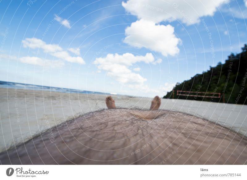 puh... Mensch Himmel Ferien & Urlaub & Reisen Mann nackt Sommer Meer Erholung ruhig Wolken Strand Erwachsene Küste Haare & Frisuren Freiheit Sand
