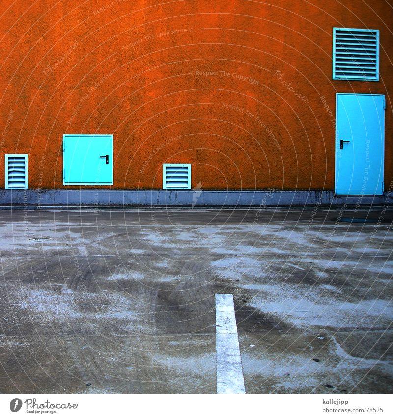 tor 1, tor 2 oder tor 3 Wand Mauer orange Straßenverkehr Tür Verkehr Asphalt Streifen Tor türkis Eingang Verkehrswege Parkplatz Griff Straßenbelag Parkhaus