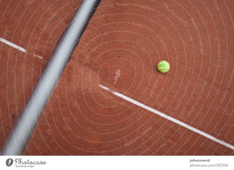 Tennisplatz 2 Ball Netz Linie Sand orange abstrakt Sport Freizeit & Hobby Wimbledon parken ruhig vergessen Spielen Fitness gelb Gegenteil Räume