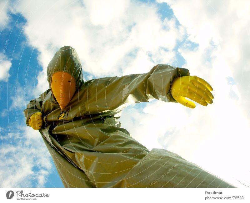 grau™ - zusammengerissen Himmel Sonne Freude Wolken gelb Kunst Maske Anzug Surrealismus Handschuhe Gummi absurd Kunsthandwerk grau-gelb