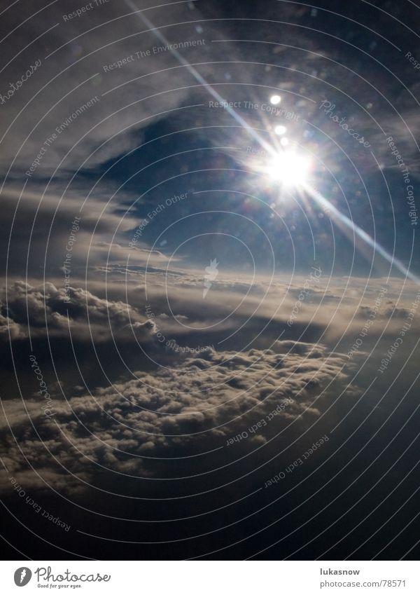 davon gekommen, nochmals glueck gehabt Himmel Sonne Ferien & Urlaub & Reisen Wolken dunkel kalt Glück Regen Beleuchtung Flugzeug Luftverkehr Sturm Gewitter frontal Blendenfleck Nordamerika