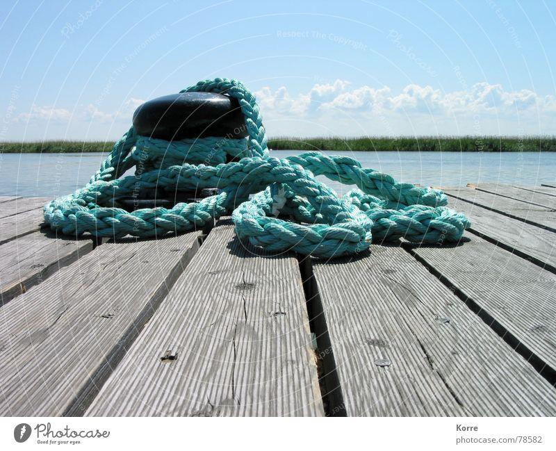 cast off! Wasser Himmel Meer blau Sommer Ferien & Urlaub & Reisen ruhig Wolken Erholung See Wasserfahrzeug Küste Seil Horizont Hafen Segeln