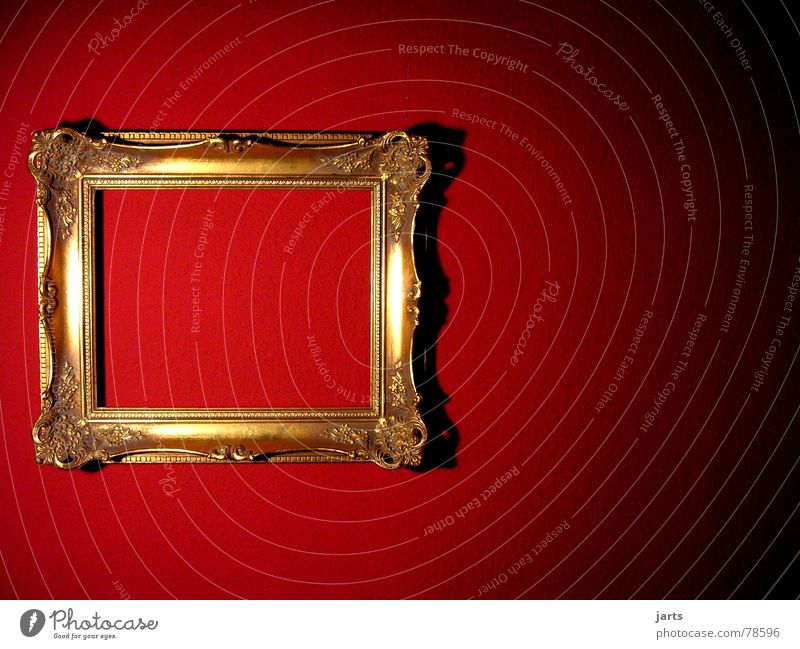 red wall Wand rot Licht antik Wohnung Häusliches Leben Kunst Kunsthandwerk jarts Bild Rahmen gold alt Mauer