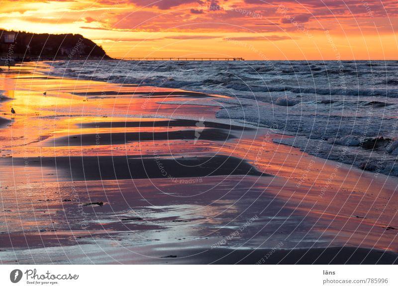 Sonnenuntergang ll Ferien & Urlaub & Reisen Wasser Sommer Meer Wolken Strand Küste außergewöhnlich Sand Horizont glänzend Wellen Tourismus Insel Beginn