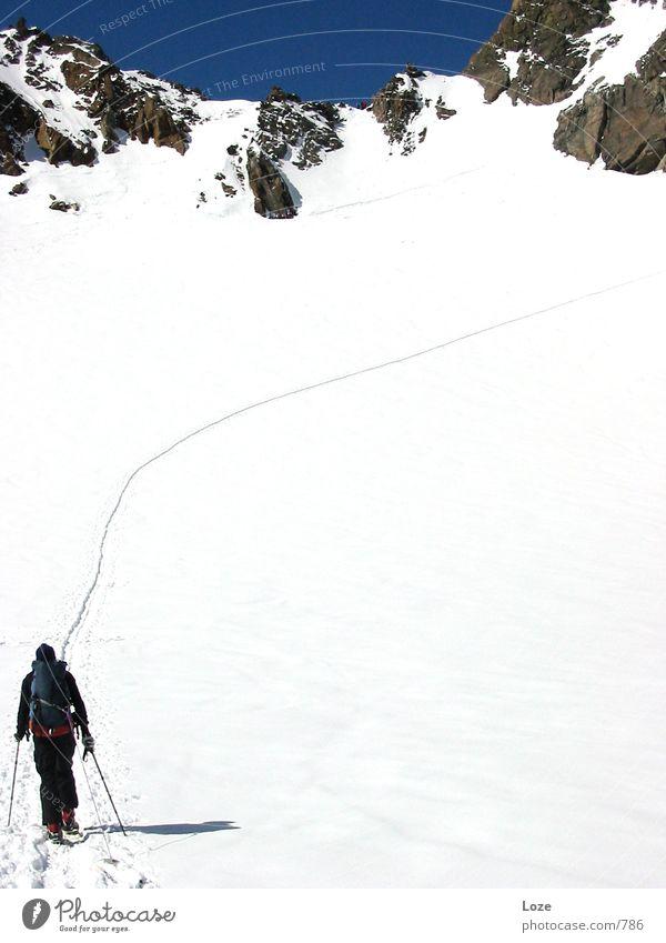 le tour 03 #02 Berge u. Gebirge Schnee Fußweg Alpen Spuren aufwärts Schneelandschaft Führer Blauer Himmel steil vorwärts Bergkamm Winterstimmung Skitour Wintertag wegweisend