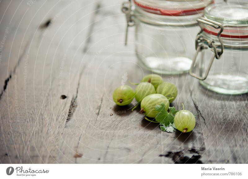 Vorbereitung 4 grün Gesundheit Frucht frisch Ernährung Tisch lecker Beeren saftig Holztisch sauer Marmelade Einmachglas Stachelbeeren Marmeladenglas