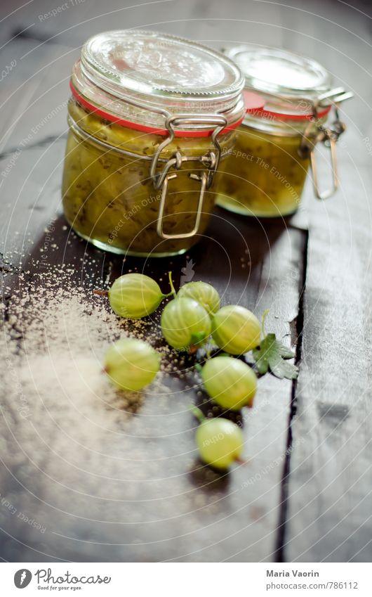 Stachelbeermarmelade grün Lebensmittel Frucht frisch Ernährung Tisch Küche lecker Frühstück saftig Zucker Holztisch rustikal selbstgemacht sauer Marmelade