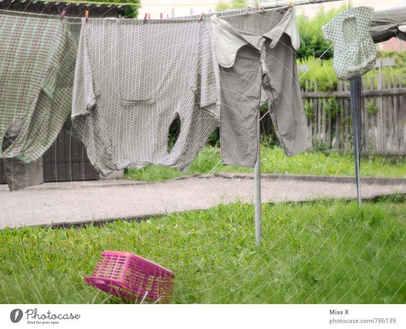 olle Wäsche Häusliches Leben Garten Bekleidung Arbeitsbekleidung Hemd Hose Stoff Wachstum alt dreckig nass Sauberkeit trocken grau Reinlichkeit sparsam