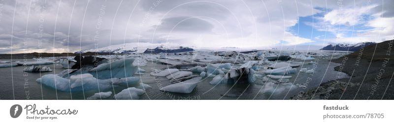 Bruchstücke der Kälte Eisberg April Island Gletscher Panorama (Aussicht) Meer Wasser Schnee groß Panorama (Bildformat)