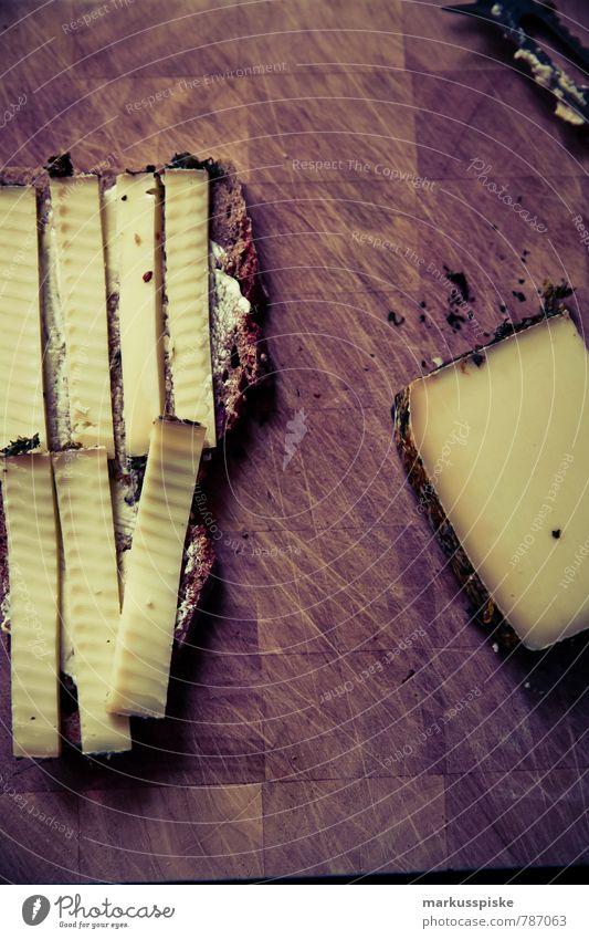 käsebrot brotzeit Lebensmittel Käse Brot bergblumen Ernährung Frühstück Mittagessen Picknick Bioprodukte Vegetarische Ernährung Diät Slowfood Fingerfood Messer