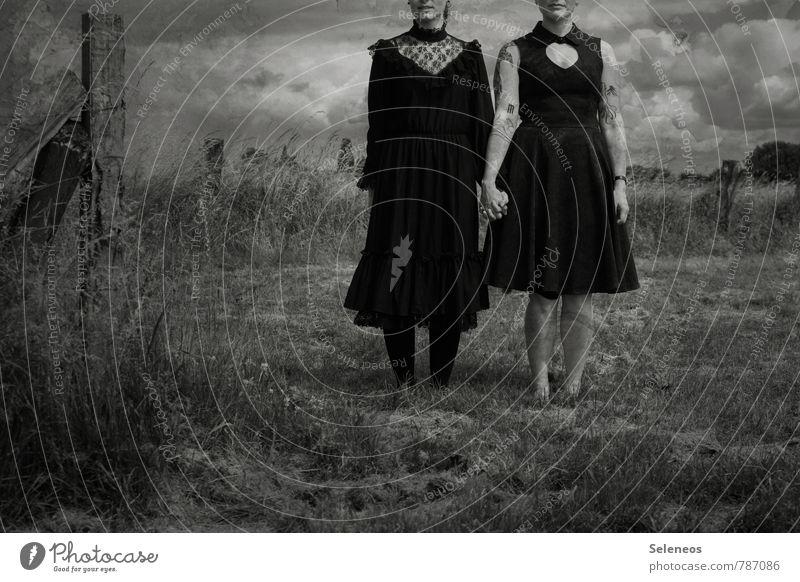 ein Sturm zieht auf Mensch Frau Himmel Natur Pflanze Landschaft Wolken dunkel Umwelt Erwachsene Gefühle Wiese feminin Horizont Angst Feld