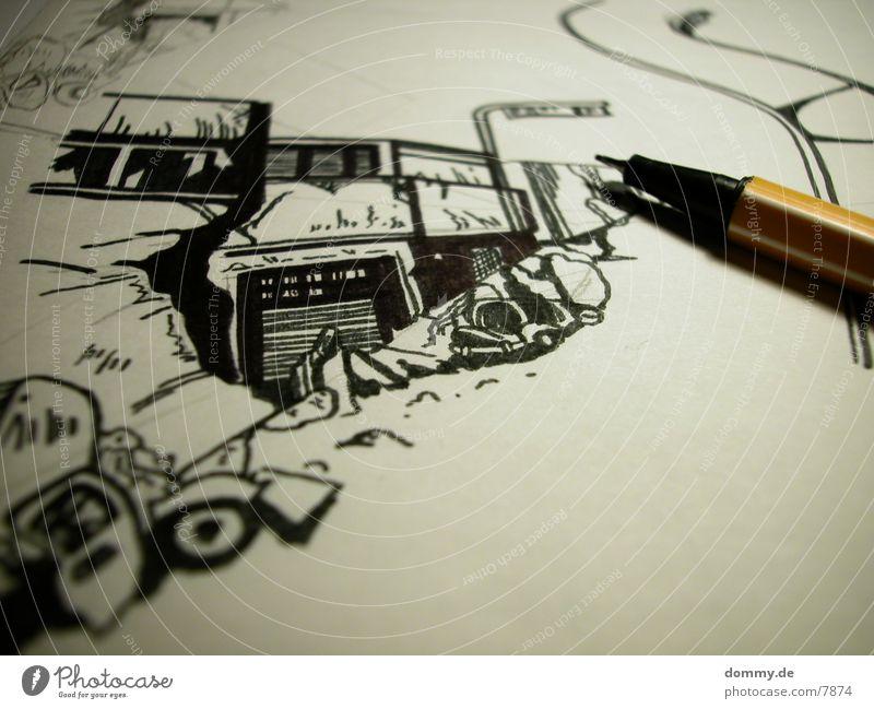 Zeichnung Schreibstift schwarz Blatt Dinge zeichnern stabilo kaz