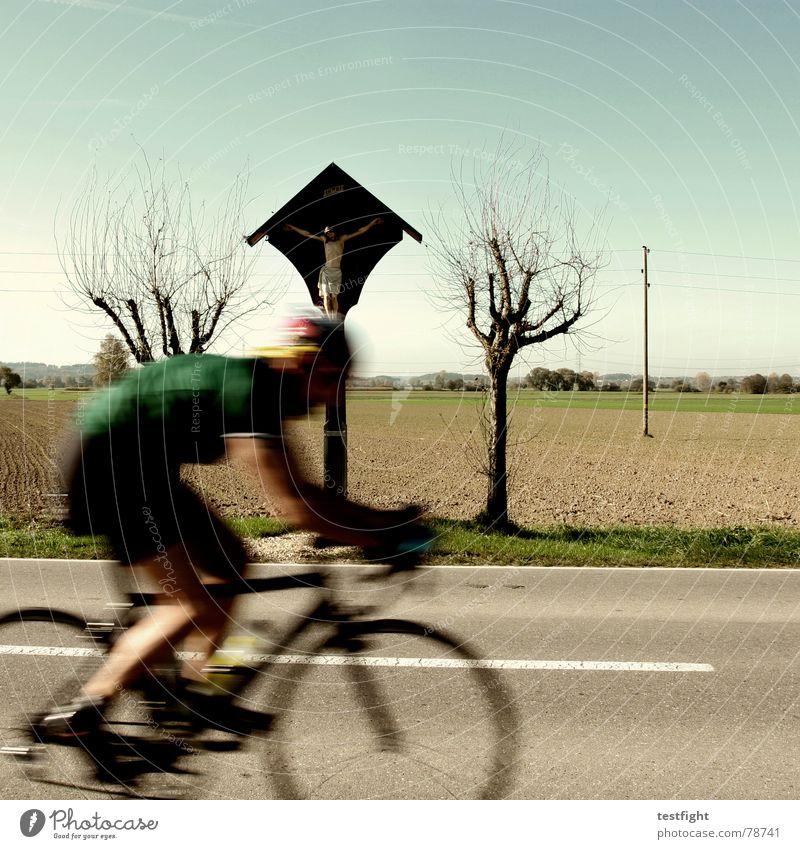 für oktober zu warm Himmel Baum Sommer Straße Sport Herbst Landschaft Geschwindigkeit Bayern heilig Schönes Wetter Gott Fahrradfahren Katholizismus Altar
