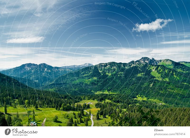 HEIMAT Himmel Natur Ferien & Urlaub & Reisen blau grün Sommer ruhig Landschaft Wolken Wald Umwelt Berge u. Gebirge Wiese Wege & Pfade See Freizeit & Hobby
