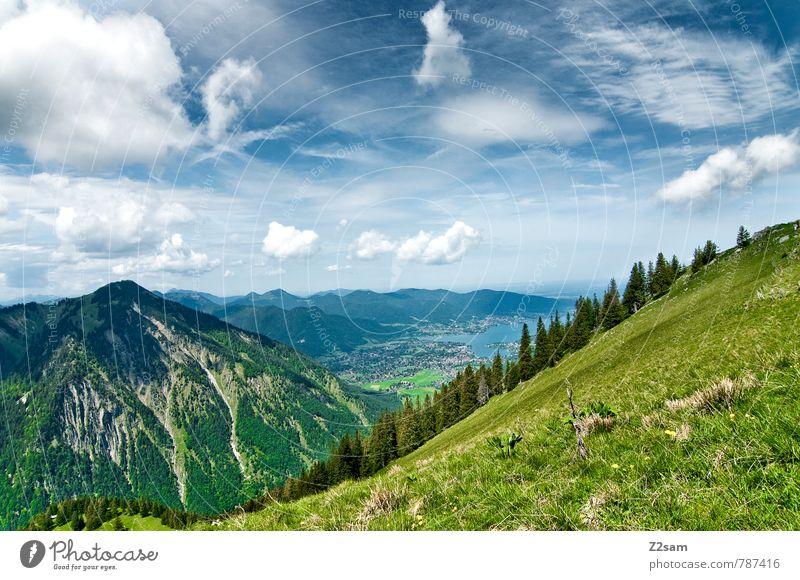 Tegernsee Tourismus Ausflug wandern Umwelt Natur Landschaft Himmel Wolken Sommer Schönes Wetter Baum Alpen Berge u. Gebirge See hoch blau grün Gelassenheit