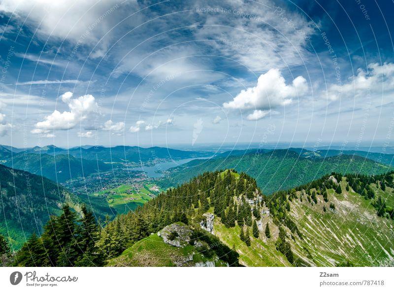 Tegernsee Himmel Natur Ferien & Urlaub & Reisen blau grün Sommer Baum Erholung Landschaft Wolken Ferne Wald Umwelt Berge u. Gebirge See Idylle