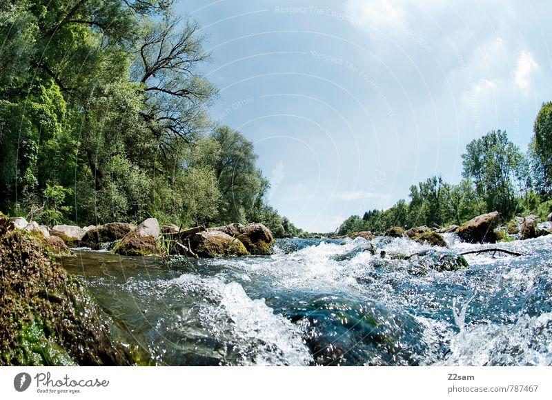 """ISAR """"die Reissende"""" Natur Landschaft Himmel Wolken Sommer Schönes Wetter Baum Sträucher Flussufer frisch kalt blau grün Abenteuer Einsamkeit Erholung"""