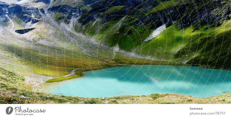 silbersee Berge u. Gebirge Natur Landschaft Pflanze Wasser Gras Felsen Alpen See blau grün Osttirol Österreich türkis Geröll Gebirgssee bergerkogel Schatten