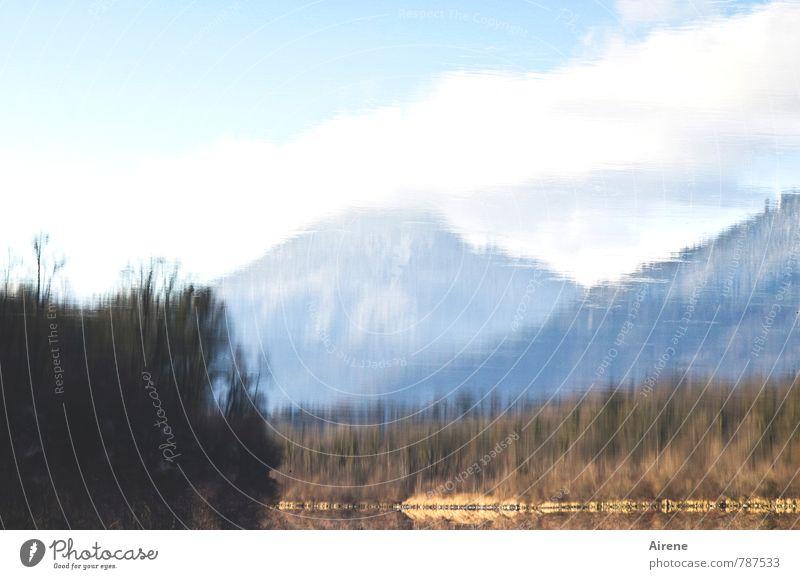 unten wie oben Himmel Natur blau weiß Wasser Landschaft ruhig Wolken Wald Berge u. Gebirge hell braun Luft Zufriedenheit Schönes Wetter Fluss