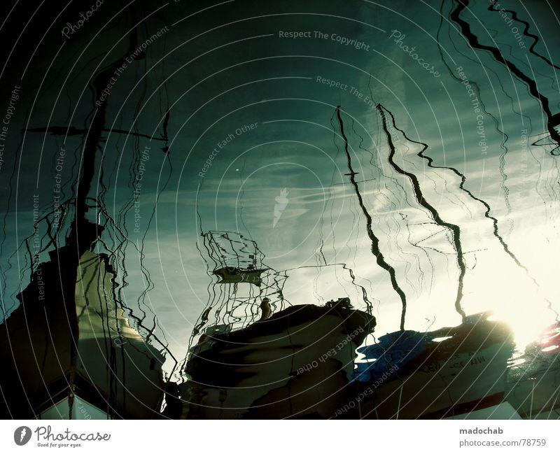 DER FLIEGENDE HOLLÄNDER See Sportboot ankern Jacht Meer Wasserfahrzeug Reflexion & Spiegelung Wellen Oberfläche Frankreich Anlegestelle Dock Liegeplatz