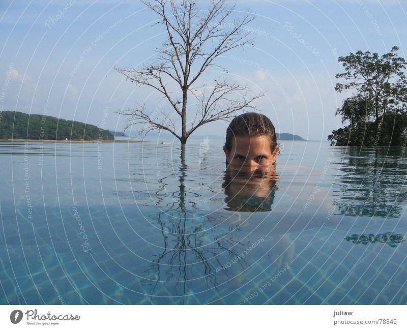 meer sehen Thailand Schwimmbad Baum Reflexion & Spiegelung Ferien & Urlaub & Reisen Meer underwater Surrealismus blau Wasser Fliesen u. Kacheln blue ocean