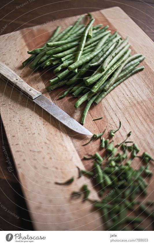 bohnen Lebensmittel Gemüse Bohnen Ernährung Mittagessen Bioprodukte Vegetarische Ernährung Diät Messer Schneidebrett Gesunde Ernährung frisch Gesundheit lecker