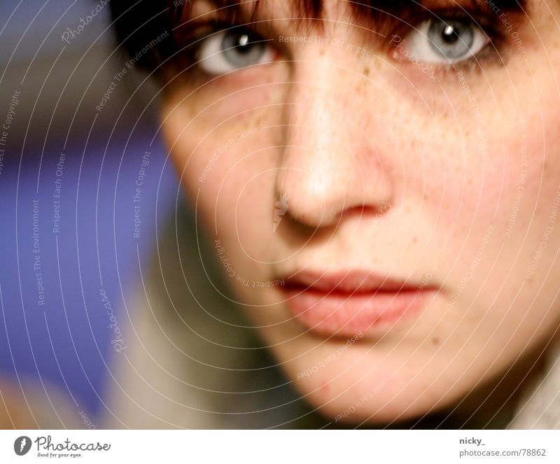 schneewittchen Frau blau Gesicht schwarz Auge Einsamkeit Ferne oben Haare & Frisuren Mund Eis hell Nase Perspektive Lippen weich