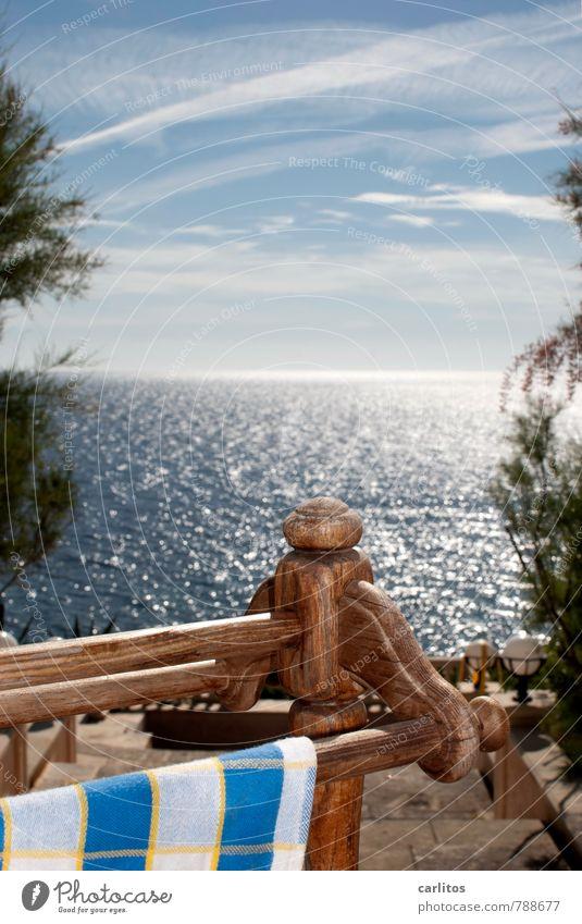 Waschtag Umwelt Natur Urelemente Luft Wasser Himmel Sommer Wärme Sträucher Küste Meer Insel ästhetisch blau weiß Mittelmeer mediterran Mallorca Handtuch