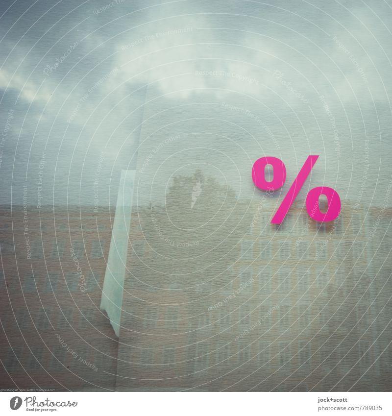mehr Prozent am Haus Baum Wolken Zeit rosa Fassade Glas Erfolg Papier Wandel & Veränderung Grafik u. Illustration neu gut Typographie Werbebranche Optimismus